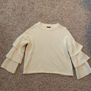 Lumiere Cream Sweater w/ Ruffle Sleeves. Size M